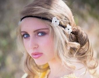 Handmade Bohemian headband, flowers black tie - vanilla on cotton base.