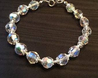 Clear Aurora Borealis Crystal Bracelet Silver Tone