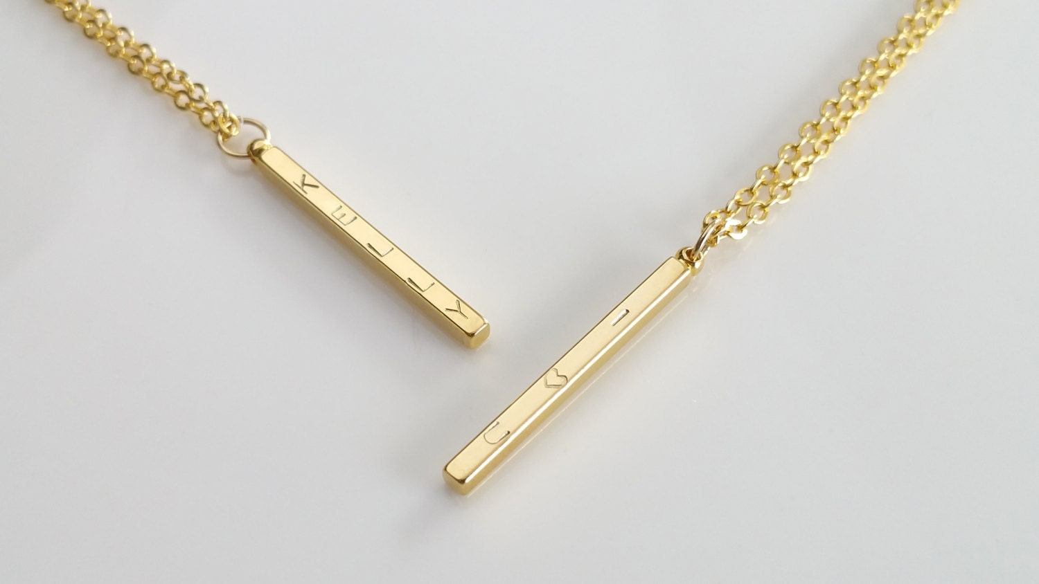 personalized vertical gold bar necklace dainty gold initial
