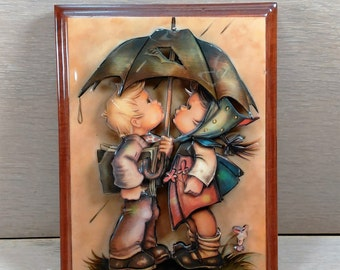 Vintage 3-D Hummel Children With Umbrella in the Rain. The Plaque is Wood. See Details