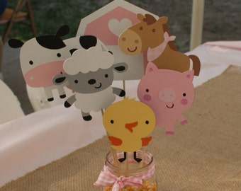 Farm Animal Centerpiece, Farm Party Centerpiece, Pink Farm Party Centerpiece, Farm party