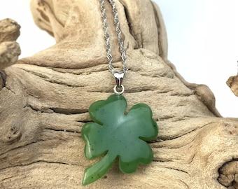Canadian Jade Shamrock Pendant -2175 - Green Jade - Natural Jade - Jade Necklace