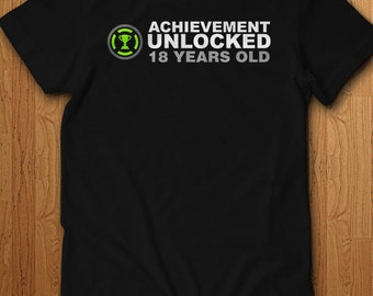 Achievement Unlocked 18 Years Old Shirt Birthday gift Idea bday t shirt adult legal Limited Edition 18 year old Geek Video Games