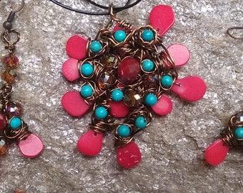 "Wire Jewelry Set, Handmade- Magnesite, Crystal, Bronze, Design, Pendant Necklace (L- 20"", Adjustable); Earrings (2"")"