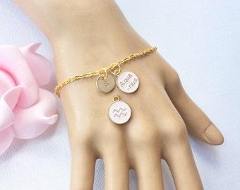 Aquarius Zodiac Sign Astrology bracelet, Aquarius bracelet, star sign bracelet,star sign bracelet, January and February birthday /GFZSSNAQB1