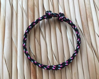 Rope Bracelet, Climbing Rope Bracelet, Black and Pink
