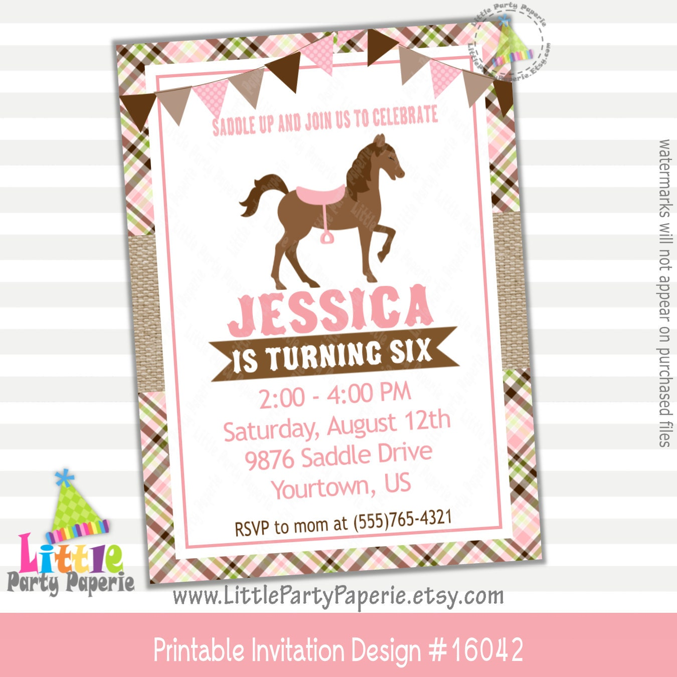 Horse Birthday Invitation Pony Birthday Invitation Girl