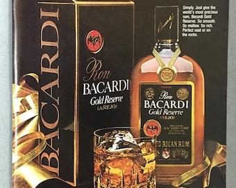 1981 Bacardi Gold Reserve Rum Print Ad