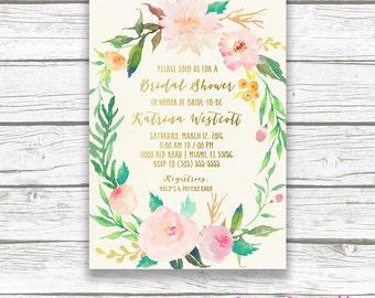 Bridal Shower Invitation, Bridal Shower Brunch Invitation, Garden Bridal Shower Invitation, Watercolor Floral Bridal Shower Invite