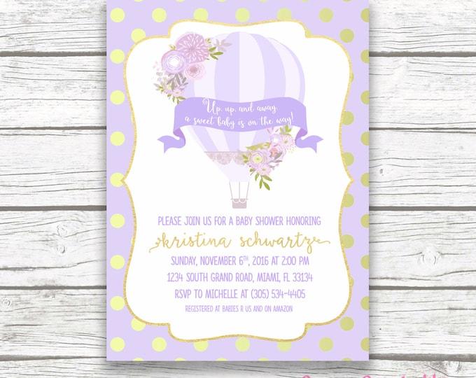Lavender Hot Air Balloon Baby Shower Invitation, Gold Foil Floral French Parisian Chic, Purple Boy Girl Invite, Printed Printable Invitation