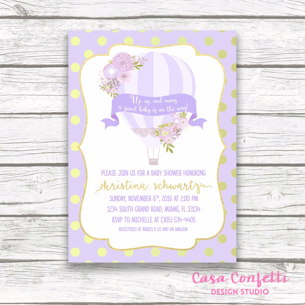 Lavender Hot Air Balloon Baby Shower Invitation, Gold Foil Floral ...