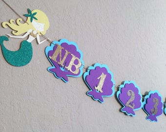 Under the Sea Mermaid Year Banner, First Year Banner, Mermaid Birthday Banner, First Birthday, Purple and Teal Banner