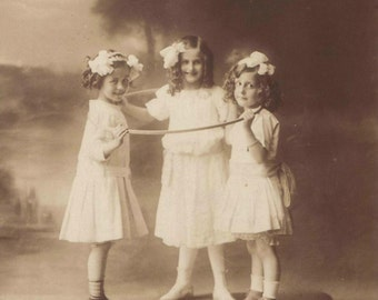 Vintage photo children hula hoop antique photograph girls room decor 1920s sepia photography PRINT poster