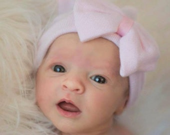 Baby girl hospital outfit, newborn girl hospital hat with bow, baby girl coming home outfit,newborn girl hospital outfit,  PINK hospital hat