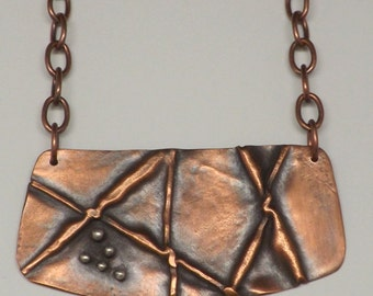 Crossing the Line Necklace  pflora-0468 #fold forming #copper #mixed metal