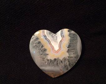 Turkısh heart banded and quartz agate cabochon