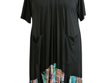 Black and Colorful Ruffle Dress