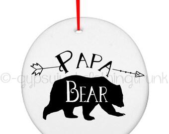 Papa Bear Ornament - Papa Bear - Bear Ornament - Woodland Ornament - Papa Christmas Ornament - Christmas Gifts - Christmas