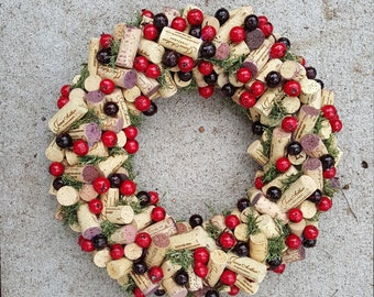 """Cranberry and Moss Wine Cork Wreath 12-14"""""""