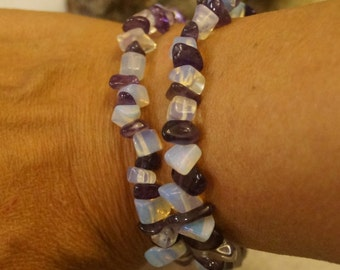 All Natural, Genuine Amethyst with White Opalite Chip Bead Bracelet