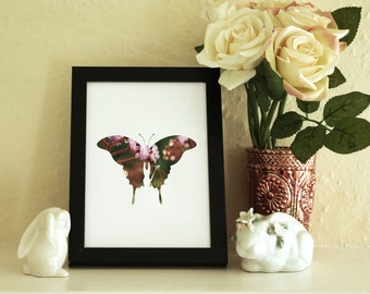 Butterfly Silhouette Print - Original Flower Photography - A3 A4 A5 A6 - Butterfly Photography - Butterfly art - Pink floral Butterfly