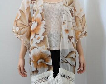 Upcycled Floral Kimono - Beige