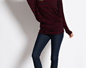 T2219S 3/4 Long Dolman Sleeve Horizontal Striped Fitted Waist Bateau Round Neck Tunic T Shirt Top (Made in USA)