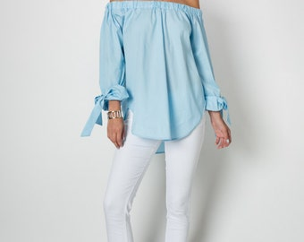 T30080: Long Sleeve Off Shoulder Cotton Elastic Shirt Tail Hem Top w/ Wrist Tie (Made in USA)