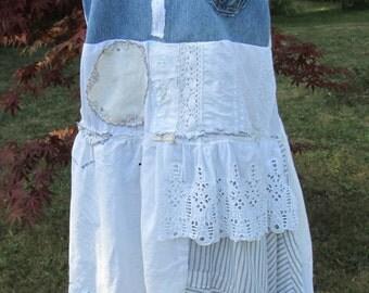Eco White/Denim  Boho Tattered Upcycled Medium/Large Sundress  by undoit