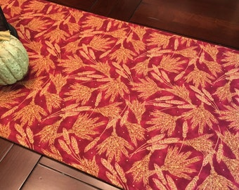 "Fall Table Runner - 60"" Table Runner - Autumn Table Runner - Thanksgiving Table Runner - Burgundy Table Runner - Hay Decor"