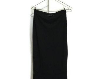 Vintage 90s Black Straight Calf Length Skirt