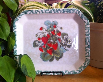 Made in Italy for Himark Square Ceramic Tray - Strawberries