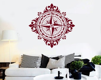 Wall Vinyl Decal Compass Ornament Nautical Marine Science Traveling Abstract Modern Beach Home Decor (#1120di)