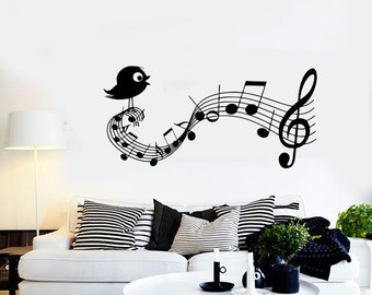Wall Vinyl Music Notes Bird Clef Guaranteed Quality Decal Mural Art 1519dz