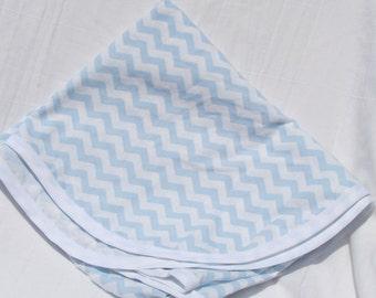 Cotton Receiving Blanket Light Blue Chevron