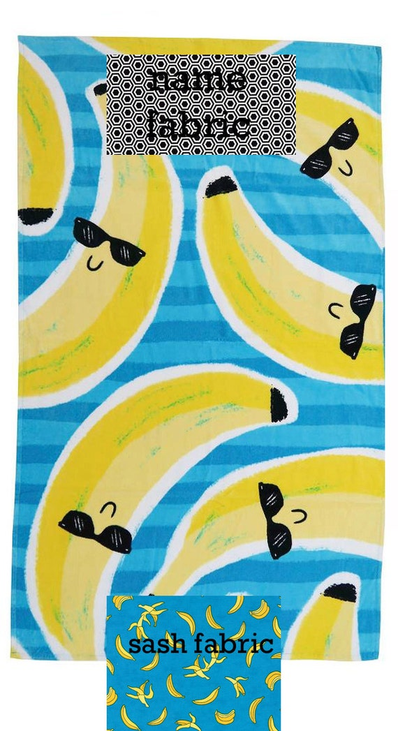 Personalized Name Banana Blue and Yellow Beach Towel with Fabric Bow, Summer, Birthday Gift