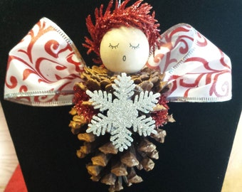 Handmade Pine Cone Angel Ornament