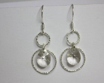 FREE SHIPPING! Silver and Swarovski earring