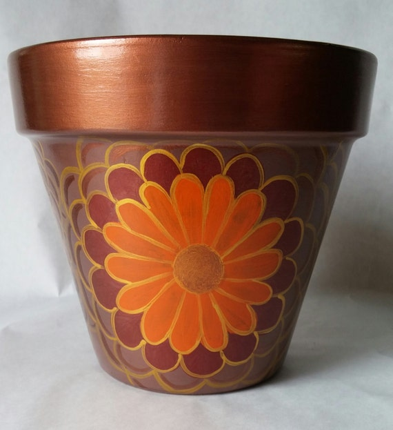 Hand painted flower pot painted clay pot flower pot hand for Design patterns for pot painting