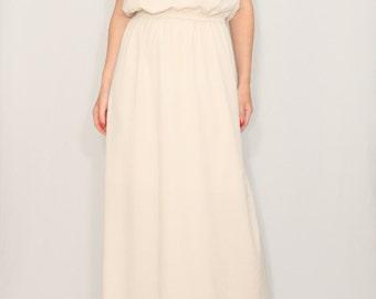 Long beige dress Bridesmaid dress Chiffon maxi dress Keyhole dress
