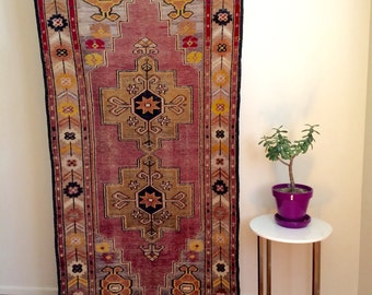Turkish rug, great faded vintage wool  3x7ft