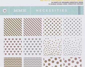 My Mind's Eye Necessities Paper Pad - Metallic, 6x6 Scrapbook Paper Pad