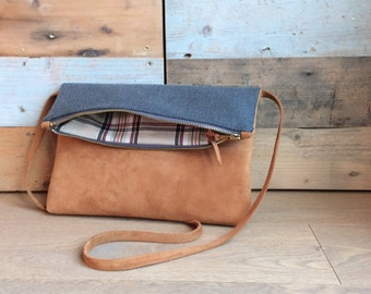 Leather shoulder bag and cloth, handmade.