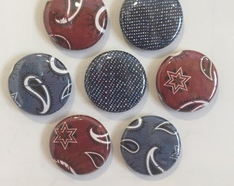 Western Bandana Denim Magnets - set of 7