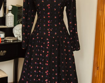 70s Elegant Drop Waist Day Dress in Black with Floral Print by Adini, Size M / L