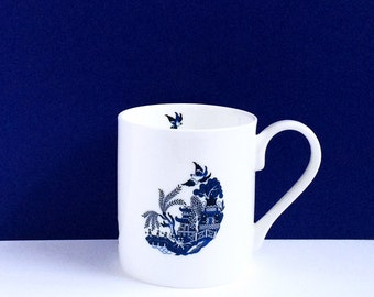 Blue Willow Deconstructed: a modern twist on a British classic - limited run, fine bone china mug, individually hand decorated, perfect gift