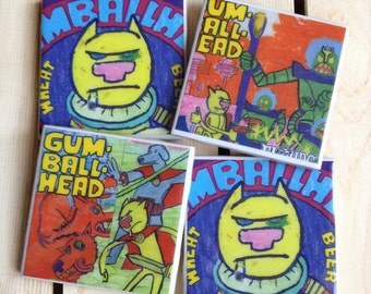 3Floyds Brewing Gumballhead Ceramic Craft Beer Coasters from Upcycled 6 pack holders. Beer Coasters. Beer Gifts. Set of 4.