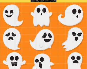 Cute Ghosts, Halloween Party, Haunted House, Trick Or Treat Digital Clip Art For Planner Stickers, Scrapbooking, Journal, Art Pieces