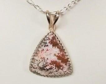 Fancy Pink, Brown, White Triangular Agate Pendant