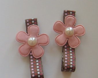 Pink Flowers Hair Clips for Girls Toddler Barrette Kids Hair Accessories Grosgrain Ribbon No Slip Grip